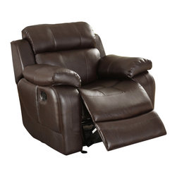 Homelegance - Homelegance Marille Rocking Reclining Chair in Brown Leather - With either the extended stretch of the reclining sofa or soothing rock of the reclining chair, your comfort is taken care of in the Marille Collection. Drop-down cup holders add additional function to the collection. The set is covered in a warm brown polished microfiber, brown bonded leather match or black bonded leather match.