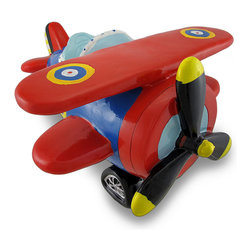 Red & Blue Bi-Plane Large Piggy Bank Biplane - This charming cold cast resin bi-plane figurine doubles as a piggy bank and is sure to delight any budding aviator. The bank measures 7 1/2 inches tall, 10 inches wide and 11 1/2 inches long. The propeller does not turn. The bank empties via a twist off plastic piece on the bottom. It is hand-painted, and makes a great gift for airplane lovers or anyone wanting to encourage a savings habit.