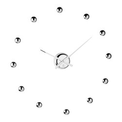 """Cupecoy - DIY Ball Clock in Chrome Finish - Place the gleaming """"numerals"""" of this clock in any fashion you'd like; the shiny center hands will keep the time for you."""