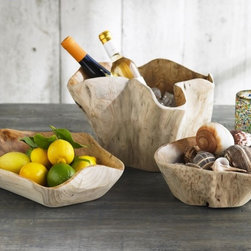 Whitewash Root Bowls - These wonderful bowls have a organic form and would be a striking addition to a centerpiece or use them as serving bowls for fruit and breads.