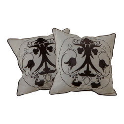 """Best Selling Home Decor - 18"""" Black Embroidered Pillows (Set of 2) - Give your home an update with this attractive pillow set. These pillows feature a linen blend cover for soft elegance. Set includes: Two pillows; Pattern: Emroidered Flower; Color options: Black, Green; Cover closure: Hidden zipper closure; Edging: Knife edge; Pillow shape: Square; Dimensions: 18 inches wide x 18 inches long; Cover: Linen Blend; Fill: 100-percent Polyester; Care instructions: Spot clean with a damp cloth."""