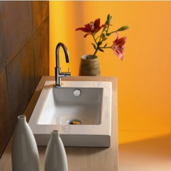 """Ceramica Tecla - Serie 35 Ceramic Bathroom Sink with Overflow - Ceramic bathroom sink. Features: -Bathroom sink. -White finish. -Single hole. -Vitreous China. -Drop-in or wall-mount installation. -All hardware necessary for installation is included. -Made in Italy. -Overall dimensions: 23.62"""" W x 13.78"""" D. -Sink not finished on back."""