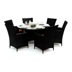 Reef Rattan - Reef Rattan Tobago 7 Pc Round Dining Set - Black Rattan / Orange Cushions - Reef Rattan Tobago 7 Pc Round Dining Set - Black Rattan / Orange Cushions. This patio set is made from all-weather resin wicker and produced to fulfill your needs for high quality. The resin wicker in this patio set won't fade, shrink, lose its strength, or snap. UV resistant and water resistant, this patio set is durable and easy to maintain. A rust-free powder-coated aluminum frame provides strength to withstand years of use. Sunbrella fabrics on patio furniture lends you the sophistication of a five star hotel, right in your outdoor living space, featuring industry leading Sunbrella fabrics. Designed to reflect that ultra-chic look, and with superior resistance to the elements in a variety of climates, the series stands for comfort, class, and constancy. Recreating the poolside high end feel of an upmarket hotel for outdoor living in a residence or commercial space is easy with this patio furniture. After all, you want a set of patio furniture that's going to look great, and do so for the long-term. The canvas-like fabrics which are designed by Sunbrella utilize the latest synthetic fiber technology are engineered to resist stains and UV fading. This is patio furniture that is made to endure, along with the classic look they represent. When you're creating a comfortable and stylish outdoor room, you're looking for the best quality at a price that makes sense. Resin wicker looks like natural wicker but is made of synthetic polyethylene fiber. Resin wicker is durable & easy to maintain and resistant against the elements. UV Resistant Wicker. Welded aluminum frame is nearly in-destructible and rust free. Stain resistant sunbrella cushions are double-stitched for strength and are fully machine washable. Removable covers made with commercial grade zippers. Tables include tempered glass top. 5 year warranty on this product. PLEASE NOTE: Throw pillows are NOT included. Round Table: