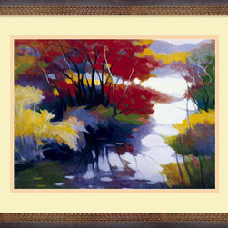 "Amanti Art - ""Indian Summer"" Framed Print by Tadashi Asoma - Bring some seasonal bliss into your home with this richly colored print. The balance of warm and cool tones in this painting perfectly captures the contradictory nature of an Indian summer. Combined with the artist Tadashi Asoma's technique of soft brushstrokes, this print will warm your heart and your walls."