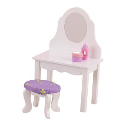 "KidKraft - Kidkraft Kids Home Indoor Fun Dress Up Pretend Play Toy Lil Doll Vanity Set - Our KidKraft wooden vanity is the perfect place for your 18"" fashion doll to sit and fix her hair and makeup. The vanity features a plexi like safety mirror and the stool is covered in butterfly fabric that coordinates with the cradle, and bunk bed bedding and the high chair cushion. Finished in a clean white paint. Dimension: VANITY: 11.85""Lx 7.09""Wx 18.43""H, STOOL: 6.89""Lx 5.12""Wx 5.51""H"