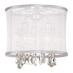 Dainolite - Dainolite 3LT Crystal Semi Flush - 3 Light Crystal Semi Flush Fixture, Polished Chrome, White Organza Drum Shade