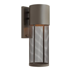 """Hinkley - Contemporary Hinkley Aria Mesh 15 1/2"""" High Bronze Outdoor Wall Lantern - Do your part to preserve the beauty of the night sky with this Dark Sky compliant aluminum outdoor wall lantern in a handsome Buckeye bronze finish. The look is handsome and contemporary with a cylindrical stainless steel mesh shade. From the Hinkley outdoor lighting Aria collection. Hinkley outdoor lighting Aria collection. Aluminum construction. Stainless steel mesh shade. Buckeye bronze finish. Dark Sky compliant. Takes one 75 watt medium base bulb (not included). 15 1/2"""" high. 5 1/2"""" wide. Extends 6 3/4"""" from the wall. Backplate is 8 1/4"""" high 4 1/2"""" wide. 5"""" from mounting point to top of fixture.  Hinkley outdoor lighting Aria collection.  Aluminum construction.  Stainless steel mesh shade.  Buckeye bronze finish.  Dark Sky compliant.  Takes one 75 watt medium base bulb (not included).  15 1/2"""" high.  5 1/2"""" wide.  Extends 6 3/4"""" from the wall.  Backplate is  8 1/4"""" high 4 1/2"""" wide.  5"""" from mounting point to top of fixture."""