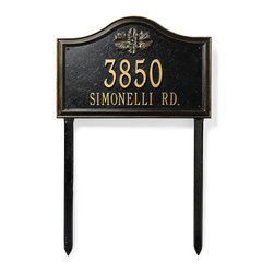"""Frontgate - Designer Arch Lawn Address Plaque - Frontgate exclusive. Powdercoating withstands rain, snow and UV rays without fading. Standard: One-line version holds up to five 4"""" numbers; two-line version holds up to five 3"""" numbers on the first line and seventeen 1-1/4"""" characters on the second line. Estate: One-line version holds up to five 5-1/2"""" numbers; two-line version holds up to five 4"""" numbers on the first line and seventeen 1-3/4"""" characters on the second line. Lawn plaque includes aluminum stakes; minor assembly required. Create a Designer Address Plaque that pairs perfectly with your home's exterior. Customize this plaque with your choice of two finishes, two sizes, six icons, and one or two lines of personalized text. Non-corroding aluminum with a protective powdercoat.  .  .  .  .  . To clean, use a non-abrasive detergent and water with a soft cloth, sponge or brush . Please check for accuracy; personalized orders cannot be modified, cancelled, or returned after being placed. Made in USA. Personalized items are non-returnable."""