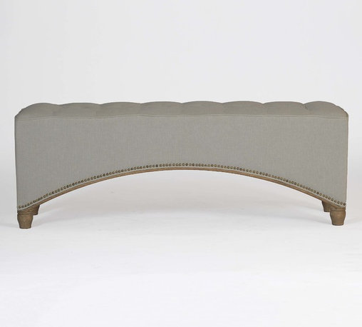Marshall Curved Tufted Bench | Choice Collection - Incorporate a bit of old Hollywood glamour into any room with this vintage-inspired bench. Perfect for any entryway or seating area, the bench is covered in linen with a tufted top. We finished the curve of the bottom with nailhead to accentuate the wide curve. Measures 55 inches in length.