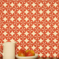 MAGGIE Wallpaper by Madison and Grow - I am such a sucker for a starfish print, especially a fun geometric abstracted one like this, and in an unexpected paprika shade to boot!
