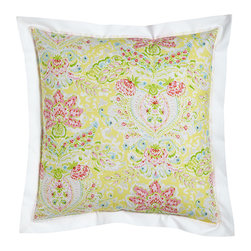 Dena Home - Reversible European Sham with White Flange - YELLOW/PINK (EUROPEAN) - Dena HomeReversible European Sham with White Flange