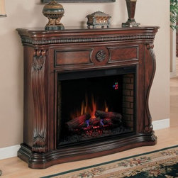 Classic Flame Lexington Electric Fireplace - When we say that the Classic Flame Lexington Electric Fireplace is destined to become the centerpiece of your home, we hope that you don't think that the becoming-centerpiece-process is going to take very long. Once you've decided where you want this luxurious piece to go, you'll need to plug it in, and possibly sit down with a snifter of cognac or a koozy of your favorite micro-brew soda, and then you'll be hooked. The body is crafted from MDF and solid hardwoods with select wood veneers and a rich finish called Empire Cherry. Swan neck corner posts, hand-carved leaf details, rosettes and book-matched veneers inside the detail panels give it a stunning look that will make all your guests wonder where the chimney is. The classic luxury of the mantle is perfectly contrasted by the modern innovation that gives us the central fireplace.The safe, infrared technology that creates the gentle and effective heat produced by this fireplace doesn't't emit any harmful gasses or vapors. Air is passed through a reusable filter and over six infrared quartz heating elements, then this warm air moves past copper heat exchangers that help maintain the warm air's normal humidity. As the air leaves the fireplace, the flocked grill still remains cool to the touch, making it safe for use in homes with children or pets. These infrared elements have a tested life of over 20,000 hours and use minimal power to provide heat to rooms up to 1,000 square feet.About Twin-Star International, Inc./Classic Flame Twin-Star International, Inc., a premium home furnishings manufacturer, offers an extensive line of high-quality products, ranging from classic traditional items to modern pieces that embrace global furnishing trends. Founded in 1996, Twin-Star employs top-of-the-line in-house designers and engineers to continually provide customers with the finest products. Twin-Star has world headquarters in Delray Beach, FL, with showrooms throughout North America.Classic Flame products are the first electric fireplaces to design mantels of the most sought after furniture styles from the finest quality hardwood solids and hand selected veneers. They're the first to use fine furniture grade construction techniques and electrical inserts with glowing logs and ember beds that look real whether turned on or off. Classic Flame has earned their reputation as the finest furniture in the electric fireplace industry.