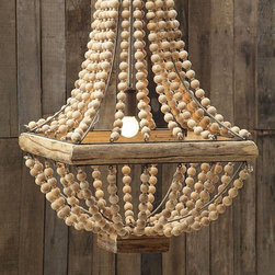 Mauritania Chandelier - The Mauritania Chandelier takes you back to the days of great liners and exotic retreats, but the playful use of wooden beads gives it a modern touch. Feature this in your own retreat for classic ship-shape style.