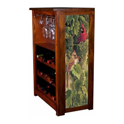 Kelseys Collection - Wine Cabinet 15 bottle Vineyard Cardinals by Rosemary Millette - Wine Cabinet stores fifteen wine bottles and glassware with licensed artwork by Rosemary Millette giclee-printed on canvas side panels  The frame, top, and racks are solid New Zealand radiata pine with a hand stained and hand rubbed medium reddish brown finish, which is then protected with a lacquer coat and top coat. The art is giclee printed on canvas with three coats of UV inhibitor to protect against sunlight, extending the life of the art. The canvas is then glued onto panels and inserted into the frames.