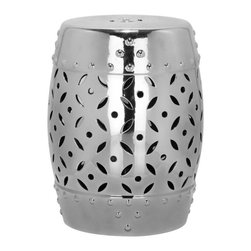 Safavieh - Capri Garden Stool - East meets West in the Capri Garden Stool.  With classic Chinese drum shape, coin motif and faux nail head detailing inspired by ancient water vessels, this ceramic stool with chic silver glaze is fashion right for any decorating style from traditional to transitional.