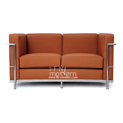 """IFN Modern - Le Corbusier LC2 Style Loveseat-Brown - 100% Italian Leather - Created by one of the most well-known swiss-french architects Le Corbusier (Charles-Edouard Jeanneret-Gris), the LC line is Le Corbusier's successful effort at fusion of urban style with the industrial steel age as a breakthrough to modernism. Like a cushion cradle, the LC Reproduction line boasts a unique, stylish and attention-grabbing externalized frame that holds the cushions like little baskets. Originally designed for the Maison la Roche in Paris as part of Le Corbusier's 2 projects, the final product of chrome-plated tubular steel chairs have now become an iconic timeless collection imbued with elegance and class. As a specialized manufacturer of famous mid-modern designer furniture, the LC Line Reproduction by IFN Modern also reflects these qualities not only in terms of classy and elegant appearance but also in utmost care in details such using premium construction material in 100% full grain leather and solid stainless steel. This collection features:1. Stylish """"basket of cushions†to hold 2 individuals comfortably in style 2. Signature look of externalized steel frame 3. Plush cushions that stay in shape to cradle the contours of the delicate body for a perfect fit and comfortable session. 4. Back to front to bottom, side to side fully upholstered in full grain Italian/Aniline leather5. Functionally elegant couple's piece for lovebirds in any setting• Product is upholstered in 100% Full Grain Italian Leather, 100% Full Grain Aniline Leather or Fabric • Variety of colors available• Long lasting durability and strength with high grade solid stainless polished steel frame resistant to chipping/rusting.• Silky smooth corners from detailed welding, grinding and sanding• Balanced stability on all surfaces with adjustable floor-leveling footcaps• Plush cushions that stay in shape for short-long sessions comfort with high density injected foam."""