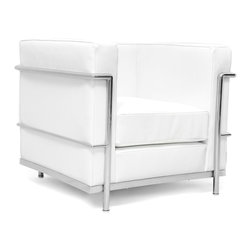 IFN Modern - Le Corbusier LC2 Style Armchair-White - 100% Italian Leather - Created by one of the most well-known swiss-french architects Le Corbusier (Charles-Edouard Jeanneret-Gris), the LC line is Le Corbusier's successful effort at fusion of urban style with the industrial steel age as a breakthrough to modernism. Like a cushion cradle, the LC Reproduction line boasts a unique, stylish and attention-grabbing externalized frame that holds the cushions like little baskets. Originally designed for the Maison la Roche in Paris as part of Le Corbusier's 2 projects, the final product of chrome-plated tubular steel chairs have now become an iconic timeless collection imbued with elegance and class. As a specialized manufacturer of famous mid-modern designer furniture, the LC Line Reproduction by IFN Modern also reflects these qualities not only in terms of classy and elegant appearance but also in utmost care in details such using premium construction material in 100% full grain leather and solid stainless steel.  This collection features:1.Signature look of externalized steel frame 2.Plush cushions that stay in shape to cradle the contours of the delicate body for a perfect fit and comfortable session.  3.Back to front to bottom, side to side fully upholstered in full grain Italian/Aniline leather4.Functionally elegant piece of fusion of traditional club chair and modern art •Product is upholstered in 100% Full Grain Italian Leather, 100% Full Grain Aniline Leather or Fabric  •Variety of colors available•Long lasting durability and strength with high grade solid stainless polished steel frame resistant to chipping/rusting.•Silky smooth corners from detailed welding, grinding and sanding•Balanced stability on all surfaces with adjustable floor-leveling footcaps•Plush cushions that stay in shape for short-long sessions comfort with high density injected foam.