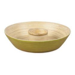 Bamboo Chip & Dip in Lime - Perfect for entertaining, this beautifully handcrafted bamboo chip and dip is both casual and elegant. The deep contour of this lime-colored bowl is ideal for serving chips, vegetables and more alongside your favorite dip. Available in a variety of colors in our signature grainy finish, mix and match to create a unique look for every occasion. This stylish piece is sure to become the center of attention at your next party or gathering.