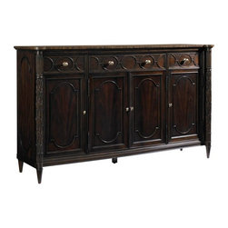 Stanley Furniture - Charleston Regency East Battery Buffet, Classic Mahogany - Add more dimension to your dining room with the East Battery Buffet that features intricate rice carving elaborations and three adjustable shelves. This is often a customizable storage space that can serve you with multiple functions like additional storage, serving space etc. with style.