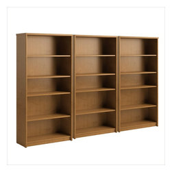 Bush - Bush Envoy 5 Shelf Wall Bookcase in Natural Cherry - Bush - Bookcases - PR76365PKG - Bush Envoy 5 Shelf Wood Bookcase in Natural Cherry