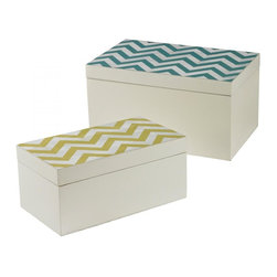 Joshua Marshal - Set Of 2 Chevron Print Boxes - Set Of 2 Chevron Print Boxes