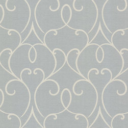Brewster Home Fashions - Mila Grey Mini Classical Wallpaper Bolt - An elegant grey wallpaper with a sophisticated silver radiance. The scrolling design is a clean contemporary take on an art nouveau swirl