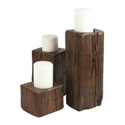 Europe2You - Wooden Pillar Candle Holders - Experience the rustic charm of the woods with this set of dark brown wooden candle holders. Reversible for pillar and tea candles, these add a unique touch to any room in your home and the assorted sizes make for an attractive display. Set the scene for an evening gathering by placing the candleholders throughout the room or make a dramatic statement setting them in a cluster on the mantle or table. * Set of 3