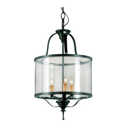 Kathy Kuo Home - Marta Elegant Old Iron Curved Glass 3 Light Lantern Pendant Lamp - The 3-light Marta Lantern is simple elegance with a graceful Old Iron wrought frame and curved glass sides.