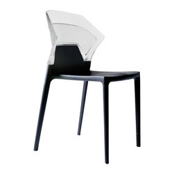 Papatya - Ego-S Chair - Set of 4, Grey Frame / Clear Back - Ego-S Chair - Set of 4