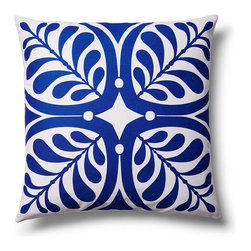 5 Surry Lane - Modern Contemporary Graphic Home Decor Accent Pillow Print, Blue - Brilliant white, combined with a bold vivid hue, make this bold graphic nature inspired pattern come alive. 100% cotton.  Wash in cold water with mild detergent.  Down insert included. Hidden zipper closure. Made in China.