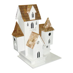 Home Bazaar - Castle Birdhouse - Invite multiple birds to your yard with this palatial castle. Three separate boxes and several roof lines give winged friends a variety of choices for resting and nesting. It's a beautiful addition to any garden and perfect for common nesting birds such as wrens and finches.