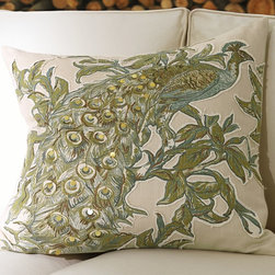 Peacock Embroidered Applique Pillow Cover - A creative mix of embroidered sequins and appliqués re-creates the dazzling peacock found on an antique Turkish textile.