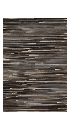 "Loloi Rugs - Loloi Rugs Promenade Collection - Charcoal, 3'-6"" x 5'-6"" - Hand stitched in India of 100% authentic cowhide, Promenade is a contemporary version of the timeless cowhide rug. The modern collection offers patterns that range in graphic designs with a strong contrast of light and dark hides. And the durable cowhide fiber makes Promenade ideal for your most frequented rooms."