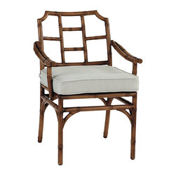 Ballard Designs - Galante Dining Armchairs - Set of 2 - Coordinates with Galante Dining & Lounge Collections. Spa Green box cushion included. Antique Chestnut finish. Resists rust, chipping & peeling. Replacement cushions available. Requires 1 replacement cushion per armchair. Galante captures the inviting look of tropical rattan in virtually ageless, carefree aluminum. The Dining Arm Chair frame is cast of powder coated aluminum to recreate the natural textures of hand carved rattan and then hand polished and protected with a baked-on, powder-coated finish.Galante Arm Chair features:. . . . . Fully assembled . Use of an outdoor furniture cover is recommended to extend the life of your piece.