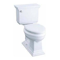 KOHLER - KOHLER K-3817-0 Memoirs Stately Comfort Height Two-Piece 1.28 GPF Toilet - KOHLER K-3817 Memoirs Stately Comfort Height Two-Piece Elongated 1.28 GPF Toilet with Class Five Flush System and Left-Hand Trip Lever