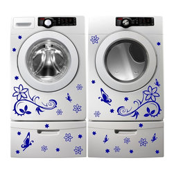 StickONmania - Washing Machine Vinyl Sticker #1 - These decals come with two of each element mirrored, you choose how to place them.A vinyl decal sticker that lets you choose how to decorate. Decorate your home with original vinyl decals made to order in our shop located in the USA. We only use the best equipment and materials to guarantee the everlasting quality of each vinyl sticker. Our original wall art design stickers are easy to apply on most flat surfaces, including slightly textured walls, windows, mirrors, or any smooth surface. Some wall decals may come in multiple pieces due to the size of the design, different sizes of most of our vinyl stickers are available, please message us for a quote. Interior wall decor stickers come with a MATTE finish that is easier to remove from painted surfaces but Exterior stickers for cars,  bathrooms and refrigerators come with a stickier GLOSSY finish that can also be used for exterior purposes. We DO NOT recommend using glossy finish stickers on walls. All of our Vinyl wall decals are removable but not re-positionable, simply peel and stick, no glue or chemicals needed. Our decals always come with instructions and if you order from Houzz we will always add a small thank you gift.