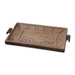 Uttermost - Camillus Wood Framed Decorative Tray - Real banana tree bark compressed over metal embossing with a wood frame and a light antiqued stain and accented with copper bronze metal handles