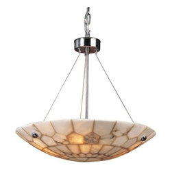 """ELK Lighting - Spanish Mosaic Bowl Suspension by ELK Lighting - The ELK Lighting Spanish Mosaic Bowl Suspension combines old world and transitional styling, featuring genuine Spanish alabaster that is hand-cut and carefully pieced together. The mosaic pattern created by the intersection of the alabaster pieces contribute to the unique design and character of the fixture. Founded in Eastern Pennsylvania in 1983, ELK Lighting designs and delivers """"Lighting for Distinctive Homes."""" As such, the exclusive line of ELK Lighting products has extraordinary designer appeal matched by an emphasis on value and craftsmanship."""