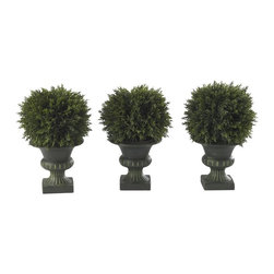 """Nearly Natural - 9 in. Cedar Ball Topiary - Set of 3 - Add a sense of old-fashioned style. A must own for any plant enthusiast. Nestled in their distinctive pedestals. Construction Material: Polyester material, Plastic. 6 in. W x 6 in. D x 8.5 in. H ( 2 lbs. ). Pot Size: 4.25 in. W x 4.25 in.HDiminutive, yet striking, this trio of classy Cedar Ball Topiaries stands at a delightful 9"""" tall, and adds a sense of that old-fashioned style to any location.  Nestled snugly into their distinctive pedestals, the distinctive round shapes of these plants add a sense of """"fun"""" and whimsy to any room. A must own for any true plant enthusiast."""