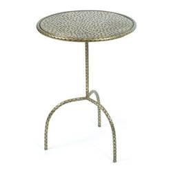 """Go Home Ltd - Hammered Sidetable by Go Home - Next to any occasional chair, this side table can nicely accommodate a decorative accent and beverage. Hammered iron with an antique brass finish adds rich character making this suitable for any decor style. This small scaled table is perfect next to a angled upholstered chair. (GH) 18"""" diameter x 24"""" high"""