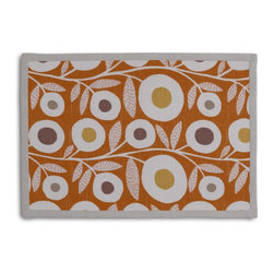 Orange & Gray Graphic Floral Tailored Placemat Set - Class up your table's act with a set of Tailored Placemats finished with a contemporary contrast border. So pretty you'll want to leave them out well beyond dinner time! We love it in this modern graphic floral print in tangerine orange, gray & white that will put some spring in your decor's step