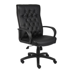 BossChair - Boss Button Tufted Executive Chair in Black - High back executive chair with deep button-tufted back cushions. Provides look of elegance with traditional styling. Large 27 nylon base for greater stability. Hooded double wheel casters. Upright locking position. Pneumatic gas lift seat height adjustment. Adjustable tilt tension control. Optional knee-tilt mechanism available model (B8502). Available in two upholstery choices: Black LeatherPlus.(BK) or Oxblood vinyl upholstery (BY).