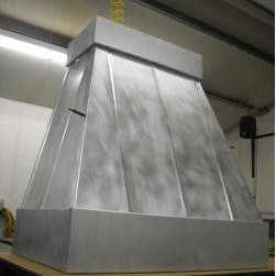 Transitional Style Vent Hoods - Hang Rubbed Tin Farm Style Custom Metal Vent Hood,