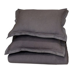 """Villa Home - Harlow Charcoal By Villa Home - Transform a bedroom into a restful haven. The Harlow Collection, with its exceptional durability, is available in a spectrum of colors. Each piece has a 55% cotton and 45% linen front. 100% cotton sateen makes up the back side and a double flange neatly borders the edges. Harlow can be styled simply for a cozy casual look or dressed up for a luxurious layered look. (VH)Queen Duvet 92"""" wide x 90"""" long, King Duvet 108"""" wide x 94"""" long, Standard Sham 26"""" wide x 20"""" high, Euro Sham 26"""" square."""