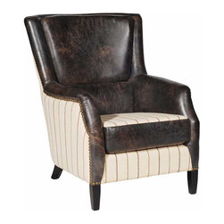 Kathy Kuo Home - Boone Rustic Lodge Antique Leather Striped Stud Arm Chair - Antique distressed leather shares equal time with gorgeous off white striped fabric and nail head studding on this handsome arm chair. With dark streamlined wood legs, this armchair exudes confidence and grace, even if you don't.  Sit in this commanding, comfy perch in your rustic lodge or urban industrial loft when you need a power boost.