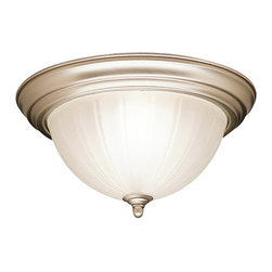 Kichler 2-Light Ceiling Fixture - Brushed Nickel - Two Light Ceiling Fixture This brushed nickel ceiling light proves that simple can still be beautiful. It features an energy efficient 2-light design that utilizes 2700k, plt 13-w. Lamps , a satin etched glass, 13 diameter with a 5 body height.