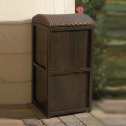 Yotrio Group Co. Ltd./li & Fung - All-Weather Wicker 21-Gallon Trash Can - Ideal for outdoor use, this attractive trash can will help keep your backyard neat and tidy while providing a stylish accent piece. The durable metal construction is accented with a weather-resistant wicker top, making it ideal for long lasting use.