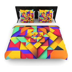 """Kess InHouse - Danny Ivan """"Shapes II"""" Geometric Cotton Duvet Cover (Queen, 88"""" x 88"""") - Rest in comfort among this artistically inclined cotton blend duvet cover. This duvet cover is as light as a feather! You will be sure to be the envy of all of your guests with this aesthetically pleasing duvet. We highly recommend washing this as many times as you like as this material will not fade or lose comfort. Cotton blended, this duvet cover is not only beautiful and artistic but can be used year round with a duvet insert! Add our cotton shams to make your bed complete and looking stylish and artistic!"""
