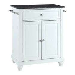 Crosley - Cambridge Solid Black Granite Top Portable Kitchen Island in White Finish - Constructed of solid hardwood and wood veneers, this kitchen island is designed for longevity. The beautiful raised panel doors and drawer front provide the ultimate in style to dress up your kitchen. The deep drawer are great for anything from utensils to storage containers. Behind the two doors, you will find an adjustable shelf and an abundance of storage space for things that you prefer to be out of sight. Style, function, and quality make this kitchen island a wise addition to your home.
