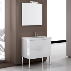 Nameeks - Nameeks | Space Iotti Vanity Set SE07 - Made in Italy. A part of Iotti by Nameek's.The rectangular shape and clean lines of the Space Iotti Vanity Set SE07 instantly modernizes bathrooms undergoing a renovation. This all-inclusive set comes complete with a wooden vanity in your choice of modern hue with fitted porcelain sink. There is space on the left for toiletries, a large mirror, and a vanity light. This set can either be wall mounted or placed on the floor using the optional chrome legs. The wood vanity with two doors and soft closing system offers space for towels and other bathroom essentials. Product Features: